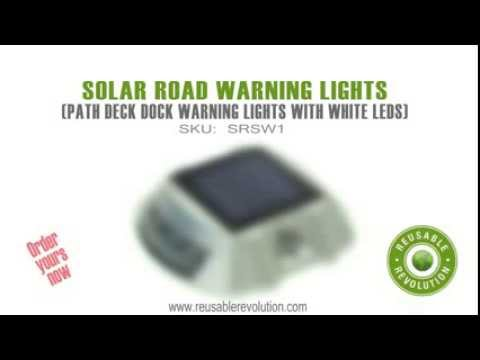 Solar Road Path Deck Dock Warning Lights With White Leds