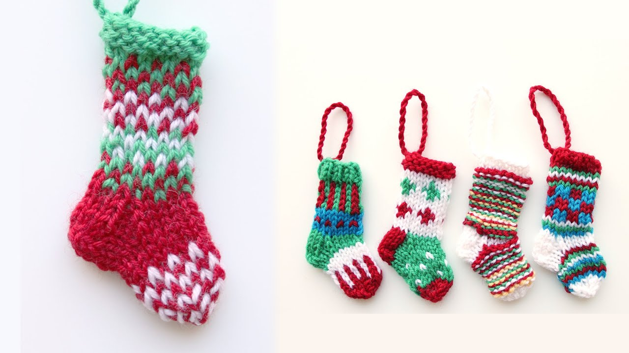 Mini Christmas stocking 1 - knitting tutorial - YouTube
