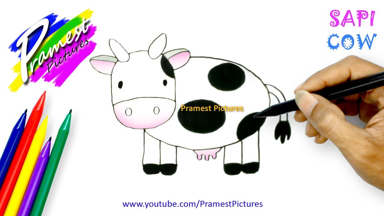How To Draw A Cow Animal Coloring Pages For Kids