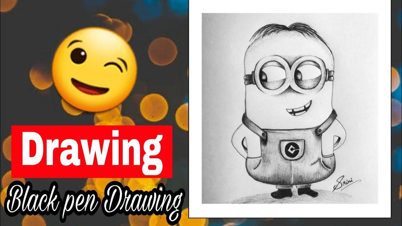 Ball pen Drawing kids love cartoon easy art || technique Of Art and Craft ||