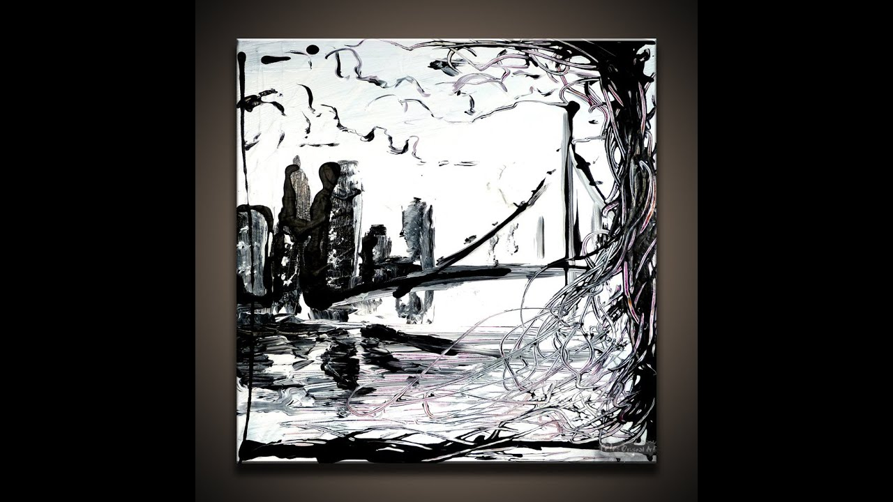 Painting Black And White Cityscape Small Canvas