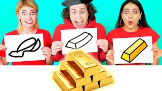 WHO DRAWS IT BETTER TAKE THE PRIZE | Funny Pranks By Ideas 4 Fun Challenge