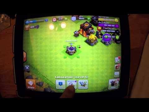 clash of clan HACK , MODS,  LABORATORY UPGRADE LEVEL 1 TO 10 - LIVE ACTION