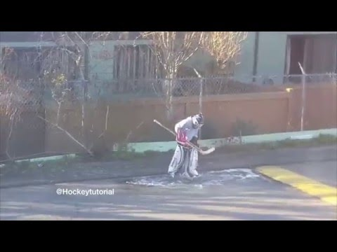 A Young Hockey Goalie Practicing On A Frozen Puddle #Motivation