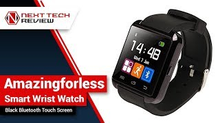 Amazingforless Black Bluetooth Touch Screen Smart Wrist Watch Product Review  – NTR