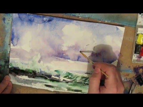 Watercolor painting. Seascape. Surf.