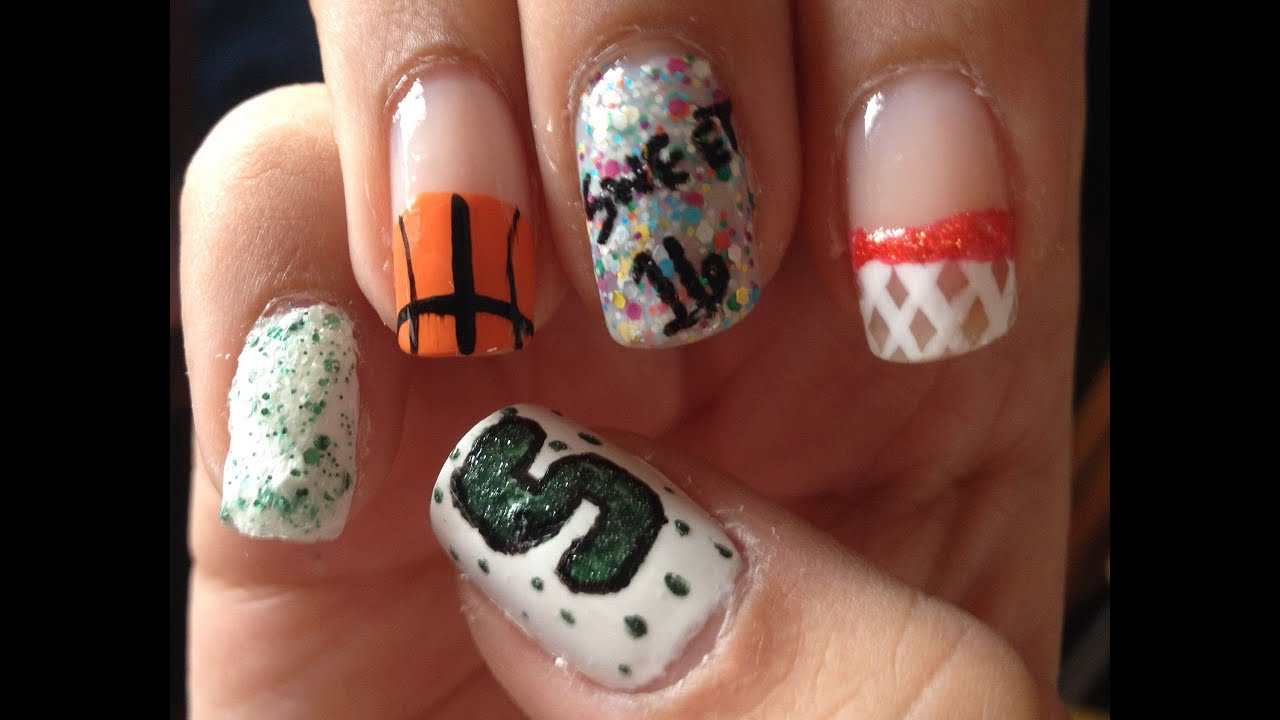 March Madness Basketball Nail Art - March Madness Basketball Nail Art - YouTube