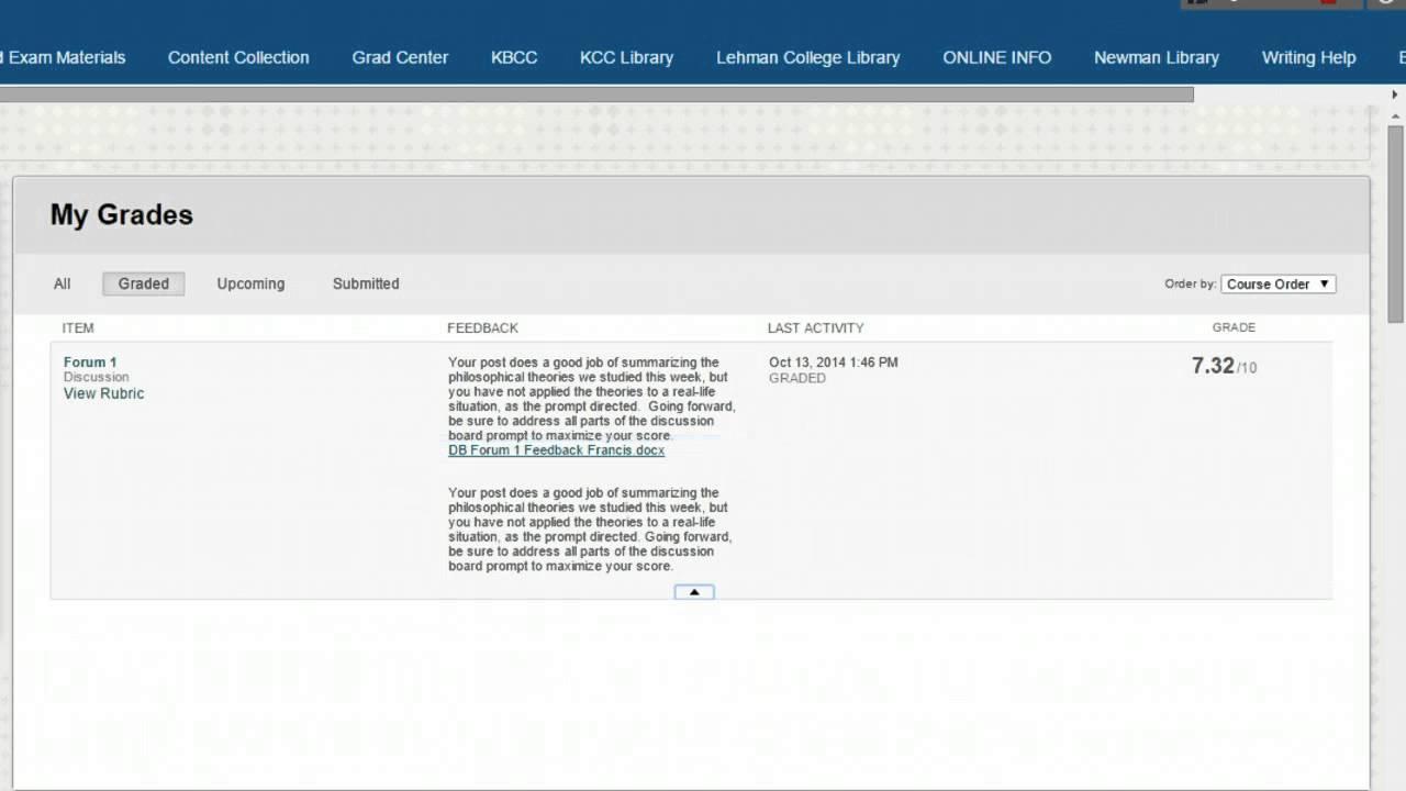 CUNY SPS New Student Orientation: Blackboard Grades