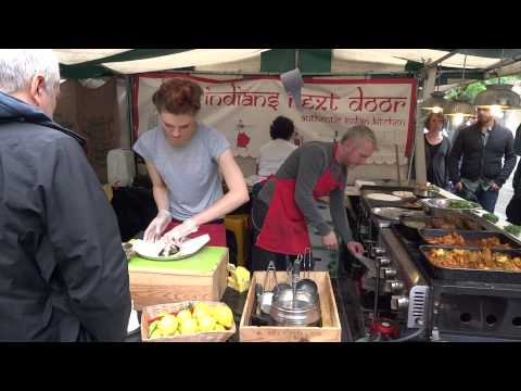 Walking around looking at the Indian Street food stalls at Alchemy food festival Southbank, London