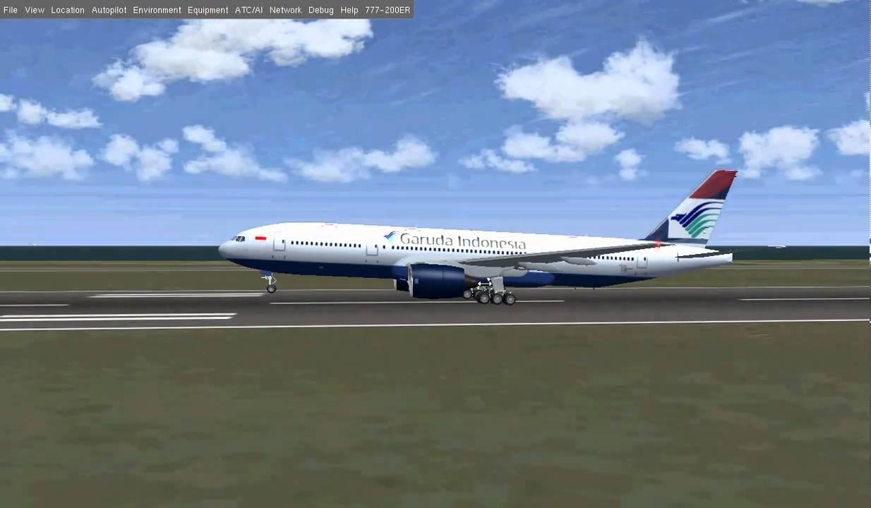 FlightGear Garuda Indonesia B777-200ER Landing (Livery edited by myself)