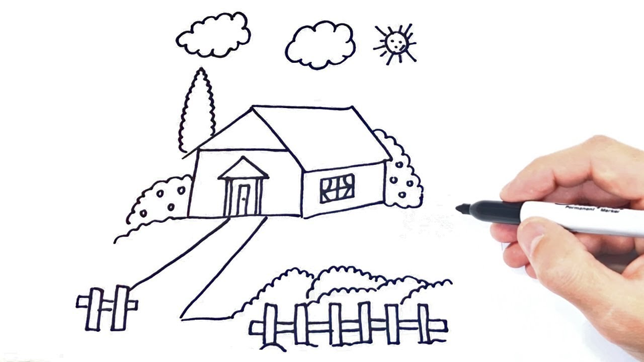 Como Dibujar Un Paisaje Paso A Paso Dibujo De Paisaje Con Casita