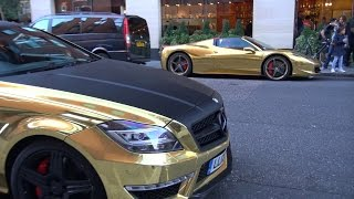 Gold Chrome Ferrari 458 Spider & 700HP Mercedes CLS63 AMG