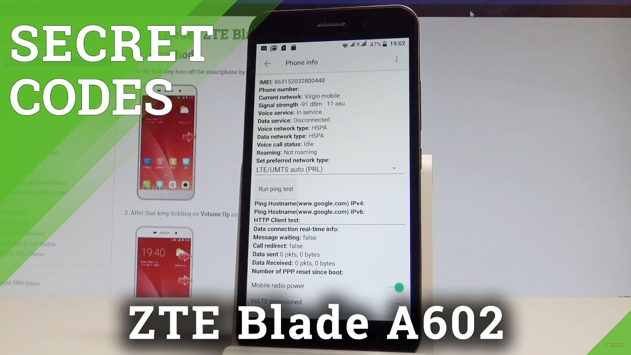 ZTE Blade A602 CODES / Secret Menu / Hidden Mode / Tricks |HardReset Info