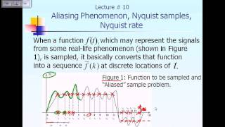 Lecture 10:  DFT: Aliasing Phenomenon, Nyquist Sample/Rate Part 1 of 2