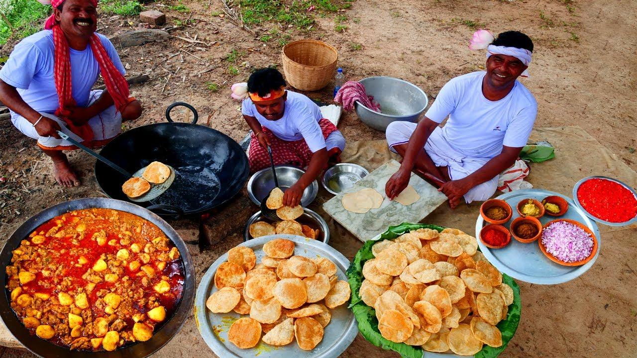 Bengali Favorite Fulko Luchi & Chicken Kosha Recipe | Village Cooking Luchi & Chicken Masala