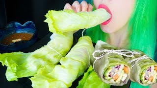 ASMR: Crunchy Lettuce Wraps with Hummus & Thai Peanut Sauce ~ Relaxing Eating Sounds [No Talking|V]😻