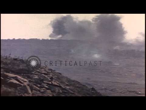 The North end of Iwo Jima being bombarded during World War II. HD Stock Footage