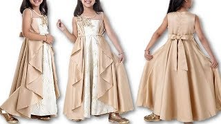 DIY Designer Front slit double layer attractive ruffle 10 Year baby gown Cutting Stitching