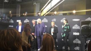 Yes band members speak backstage at Rock Hall 2017 induction