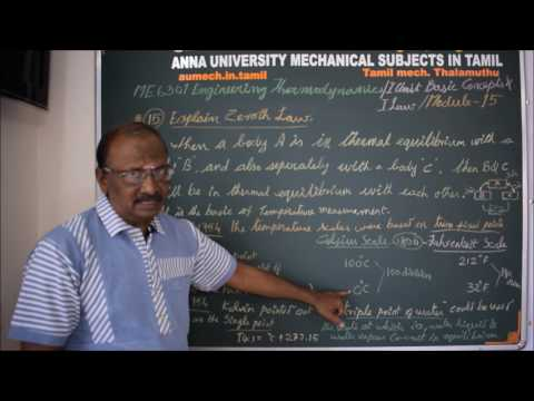 Zeroth Law of Thermodynamics - ME 6301 Engineering Thermodynamics Tutorial in Tamil