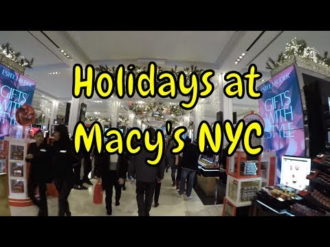 ⁴ᴷ Walking Tour of Macy's Herald Square and Windows in NYC during the 2017 Holidays