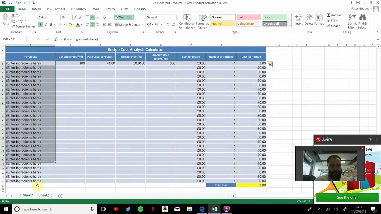 Designing A Recipe Cost Calculator On Microsoft Excel Youtube