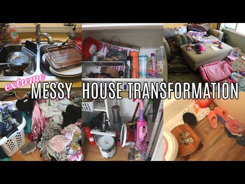 EXTREME MESSY HOUSE TRANSFORMATION! ALL DAY CLEANING MOTIVATION | MOM LIFE 2019