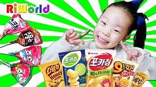Hide and Seek with Korean snacks Candy RIWORLD 리원아 과자 그만 먹어 ! 리원이의 과자 숨바꼭질 놀이