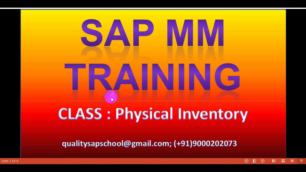SAP MM Physical inventory Part 1