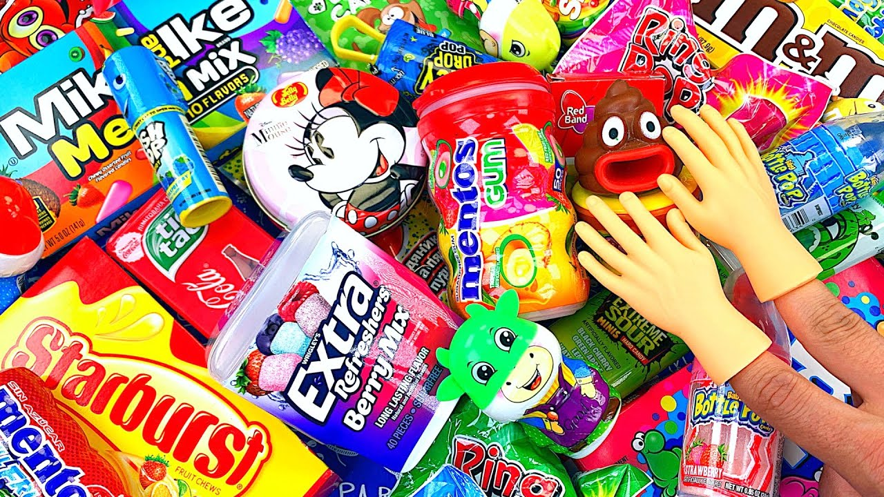 Oddly Satisfying Video l Opening All My Colorful Candy with Tiny Hands & Glitter Clay Cutting ASMR