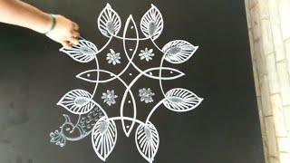Rangoli designs...simple N easy...chikku peacocks...5 to 3 dots