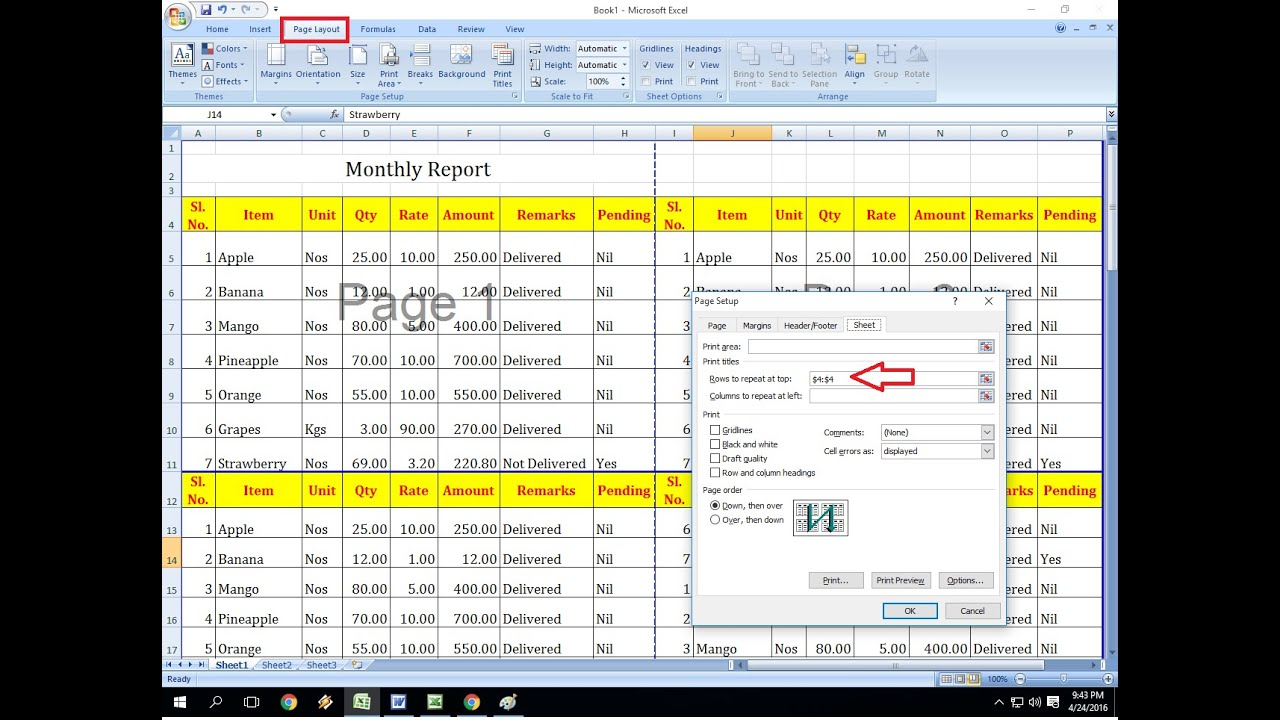 How To Repeat Rows Amp Column On All Excel Pages Row On Top