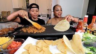HOMEMADE TACOS MUKBANG | COOKING AND EATING