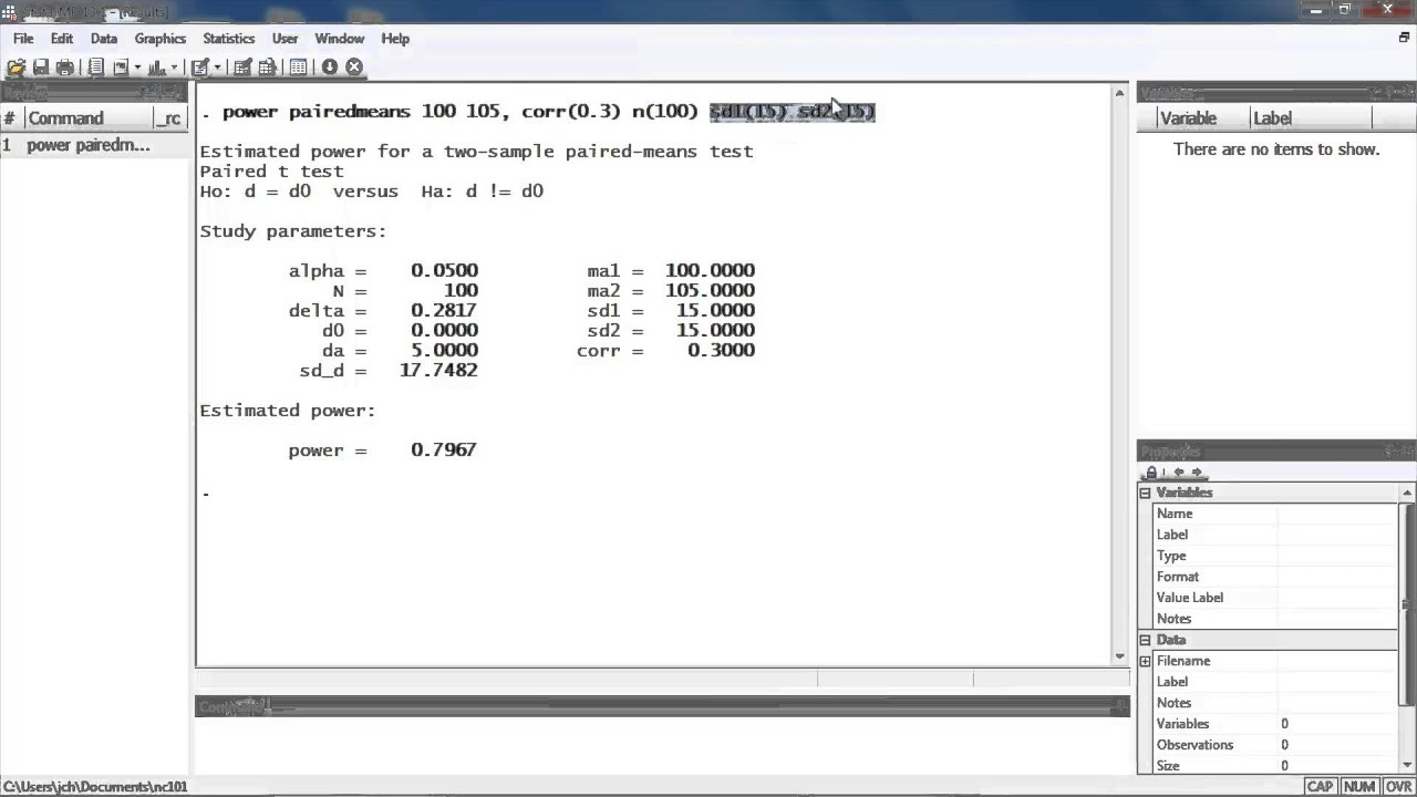 Power calculation for comparing sample means from two paired ...