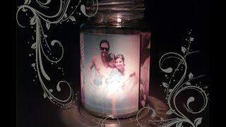 Luminária com foto em pote de vidro