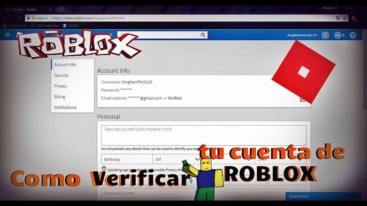 Como VERIFICAR tu cuenta de ROBLOX y ponerle PIN!!! - YouTube