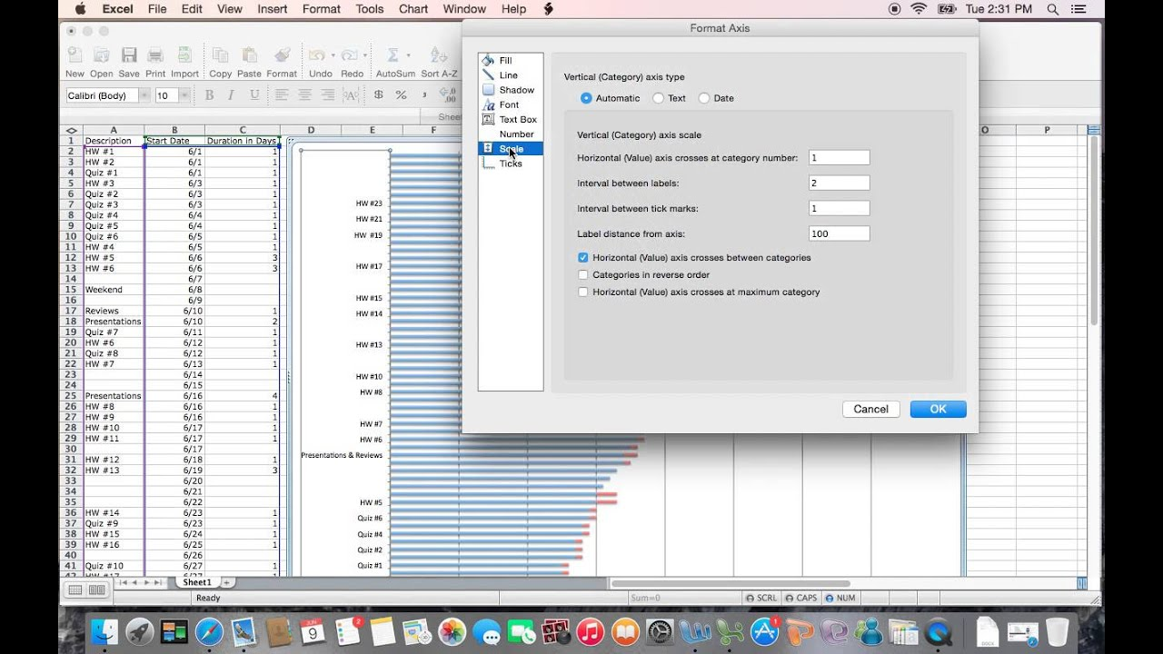 Gantt Chart creation on Mac - YouTube
