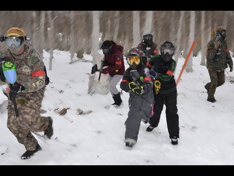 Winter paintball at