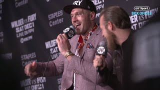 AMAZING! Tyson Fury gets the entire press room singing America Pie after Wilder fight