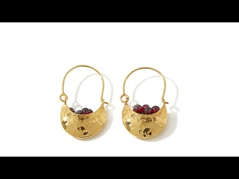 "Jewels of Istanbul 11ct Garnet ""Basket"" Earrings"