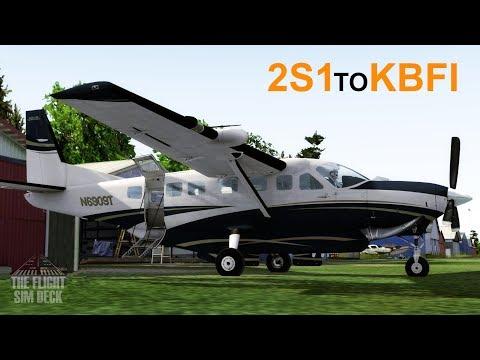 Prepar3D v4   To Boeing Field We Go 2S1 to KBFI   Carenado C208B