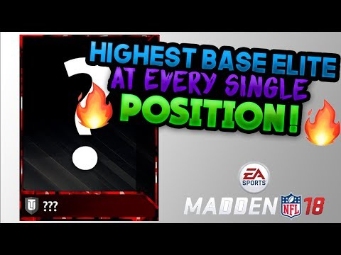 HIGHEST BASE ELITE AT EVERY POSITION IN MADDEN 18!!! MADDEN 18 PREDICTIONS!! MADDEN 18 ULTIMATE TEAM