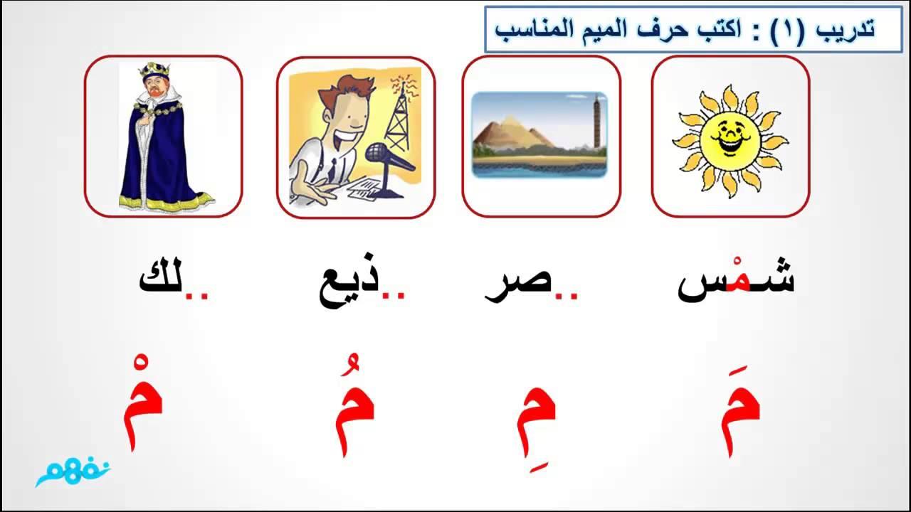 حرف الميم الصف الأول الابتدائي اللغة العربية موقع نفهم