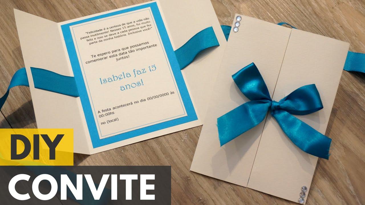 Conhecido Convite de 15 anos simples |DIY - Faça você mesmo - YouTube FH65