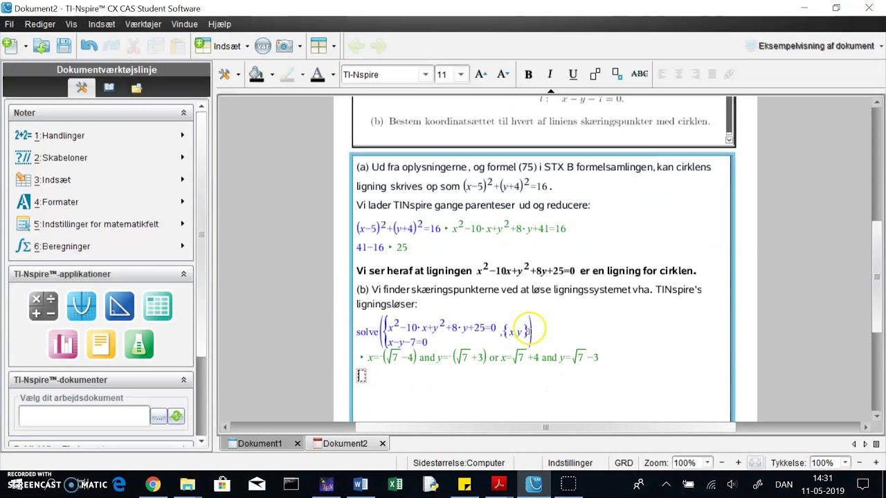 TINspire: skæringpunkter mellem linie og cirkel ved ligningsløser