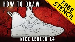 How To Draw: Lebron 14 w/ Downloadable Stencil