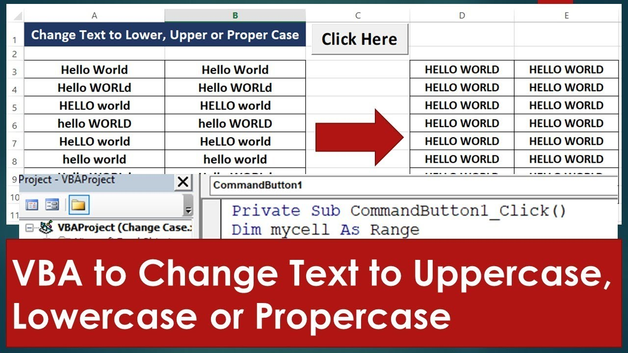 VBA to Change Text to Uppercase, Lowercase or Propercase - Excel VBA Example