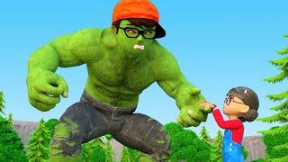 NickHulk vs Giant Zombie  Rescue Tani, Miss T - Scary Teacher 3D Superheroes Animation