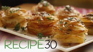 Layers of crispy, buttery Parmesan POTATO STACKS - By RECIPE30.com