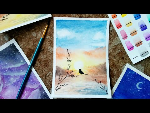 Easy watercolor landscape painting (time-lapse)
